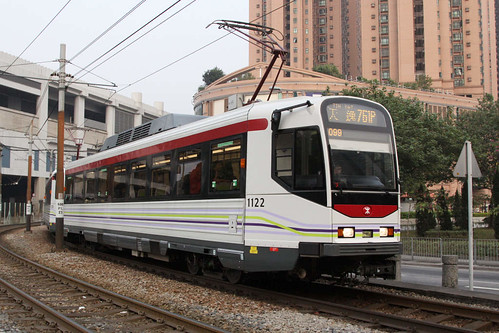 Phase 4 LRVs 1122 and classmate departs Yuen Long station on route 761P