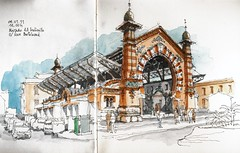 Mlaga, mercado del Molinillo (Luis_Ruiz) Tags: architecture sketch spain market drawing steel andalucia andalusia dibujo malaga mlaga metalstructures urbansketchers
