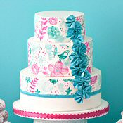 Teal and pink cake