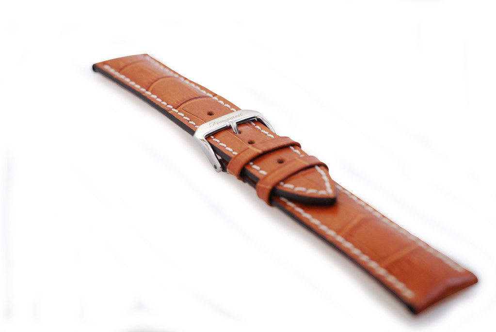 Cognac Leather Strap with White Stitching - Clipped