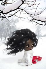 White Winter (erregiro) Tags: christmas winter red snow fashion magazine landscape nose photography carved eyes doll eyelashes makeup lips snowing blythe custom publication reroot eyechips erregiro