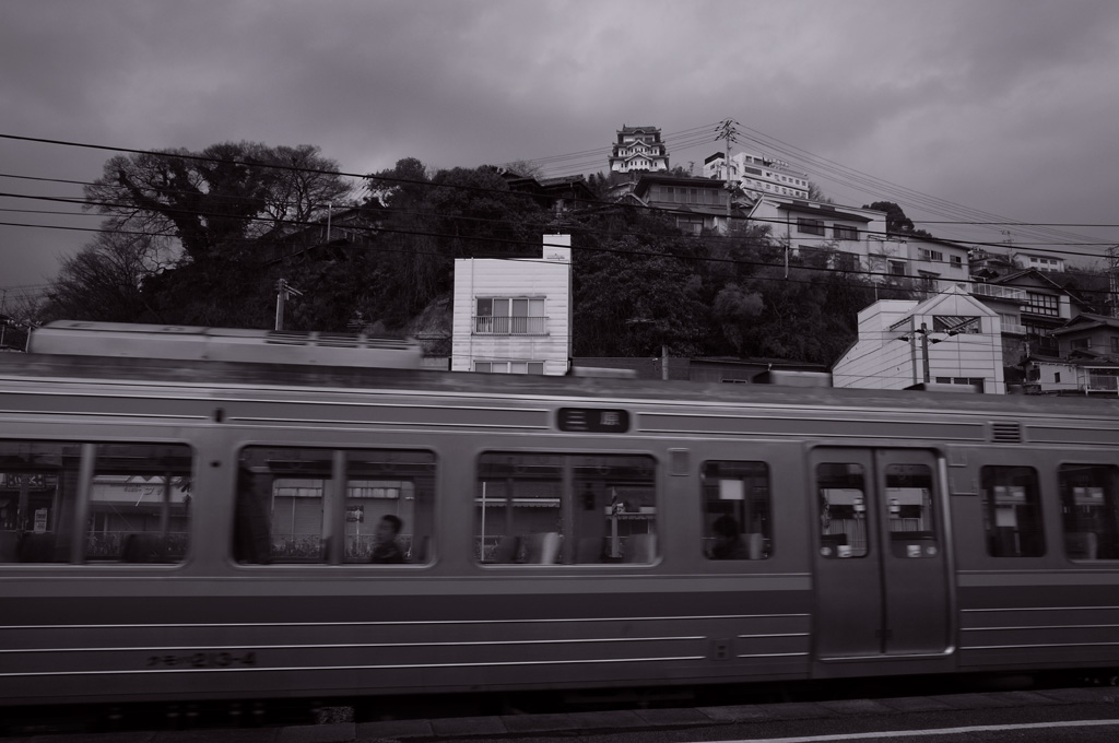 JR train and Onomichi castle (Onomichi City #2)