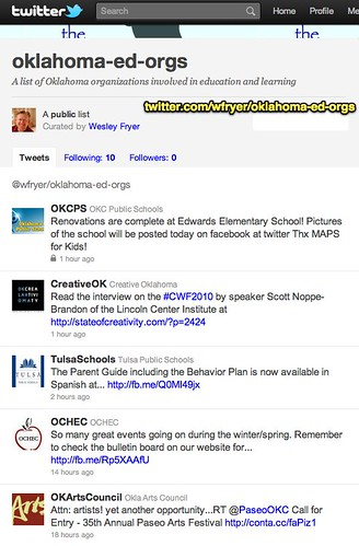 Twitter- A list of Oklahoma organizations involved in education and learning