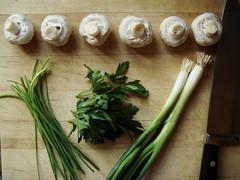 Paris Mushroom Soup: Garnish Mise En Place
