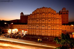 Hawa Mahal, Palace of Winds (Popeyee) Tags: pictures street city longexposure travel pink blue sunset india night speed canon photography photo long exposure flickr gallery foto photographer slow image photos pics indian picture mahal palace images fotos hour shutter bluehour bild winds jaipur bilder journalist rajasthan hawamahal 2010 hawa pinkcity rajastan 2011 palaceofwinds palazzodeiventi palaceofbreeze popeyee popeyeeflickr