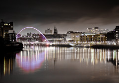 Newcastle Upon Tyne. (Ian McWilliams.) Tags: night dark glow gateshead milleniumbridge newcastleupontyne quayside