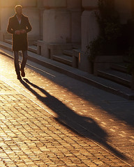 Golden (Philipp Klinger Photography) Tags: road street italien winter light sunset shadow people italy sun man brick silhouette gold golden evening licht italia coat human outline philipp luce giulia udine klinger friulivenezia dcdead