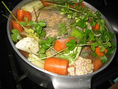 chicken stock in a pot