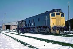 24135 at Cockshute (robmcrorie) Tags: snow colour film yard train rail railway loco slide trains class trent 1975 british locomotive 24 enthusiast kodachrome 1970s railways staffordshire stoke railfan 24135 cockshute 8l78