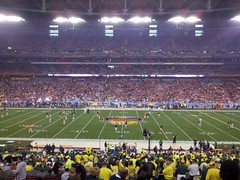 From the 50 yard line on the Oregon side of the stadium (earthsound) Tags: arizona field grass lines football desert glendale stadium crowd auburn pregame bcs 50yardline bcsnationalchampionshipgame bcstrip phoenixuniversitystadium