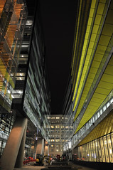 Shiny new offices (SteveSnaps) Tags: uk england color colour reflection london glass metal modern night buildings office nikon darkness britain notripod afterdark d300 1755f28