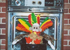 Sock Monkey Thanksgiving (monkeymoments) Tags: thanksgiving turkey oven humor feathers sockmonkeys monkeys monkeyfun animalhumor