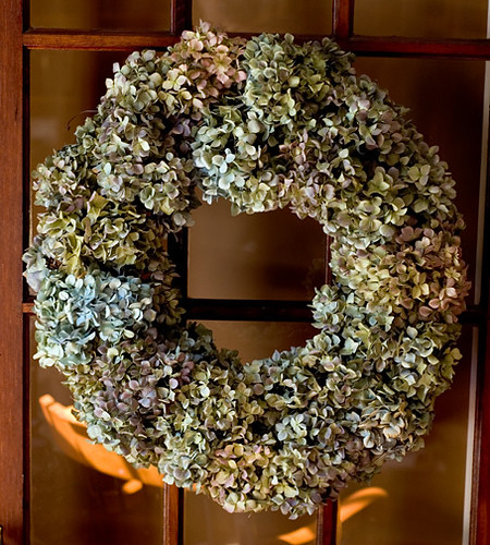 dried hydrangea wreath on French door