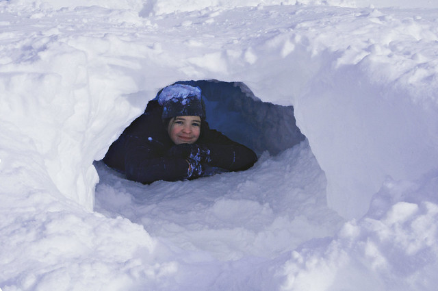 Alex in snow fort