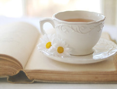 You can never get a cup of tea large enough or a book long enough to suit me. (ImagesByClaire) Tags: flowers stilllife cup window 50mm14 explore afternoontea saucer cupoftea oldbook daisiesfrommygarden