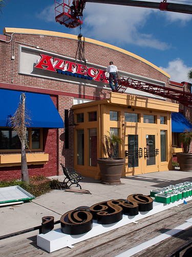 Azteca Signage Going Up