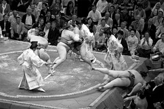 2010 Tokyo Sumo Tournament montage. (Silpheede) Tags: japan japanese tokyo sumo wrestling tournament 2010 hakuho ring crowd audience sport tradition traditional monochrome  montage composite photoshop