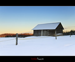 Rustic Finland (Barry_Madden) Tags: road trees winter sky moon snow cold barn fence suomi finland landscape countryside afternoon freezing talvi countryroad lappeenranta