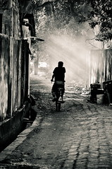 [208/365]: In the alley of life (A. adnan) Tags: street blackandwhite bw bicycle nikon streetphotography tamron bangladesh silhuette chittagong bangladeshiphotographer d5000 peopleofbangladesh peregrino27blackwhite