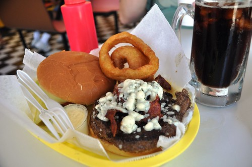 Blue Cheese & Bacon Burger with Root Beer at the Frosted Mug, Venice, Fla.