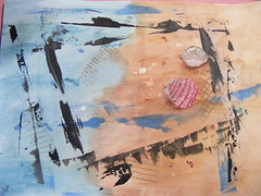 """""""the beach"""" art journaling page"""