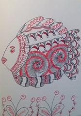 Fish zentangle (anviss) Tags: red fish black illustration pattern sketchbook rood zwart vis illustratie uniball tekening schets gelpen schetsboek zentangle