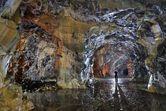 Reflets (flallier) Tags: carrire souterraine calcaire underground quarry silhouette concrtions calcite pilierstourns eau water
