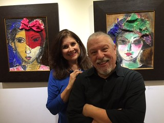 Cuqui and artist Mano at his opening at McCall Williams Gallery in Coconut Grove