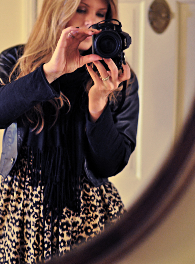 reflection in the mirror, leopard print dress, vintage leather, nikon camera, long blonde hair, DSC_0144