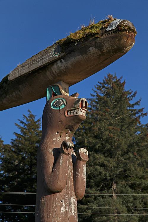 bear and whale figures, Klawock Totem Park, Klawock, Alaska