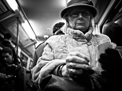 My Fur Lady - Undercover Underground, Hamburg (adde adesokan) Tags: street old people bw woman white black hat pen underground fur glasses metro finger coat streetphotography olympus ring ubahn passenger oma 20mm brille frau fell omi undercover ep1 streetphotographer m43 mft mirrorless microfourthirds theblackstar mirrorlesscamera streettogs