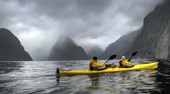 Milford Tourism (briankosena) Tags: newzealand kayak paddle seakayak milfordsound fjords fiordlandnationalpark ladybowenfalls deepwaterbasin tourkayak