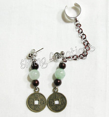 Chain earrings - Jade and Coin