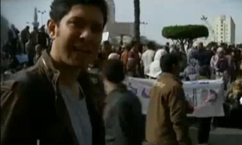 Screen shot of a live report from senior Democracy Now! producer Sharif Kouddous, who has been filing live reports from Cairo., From ImagesAttr
