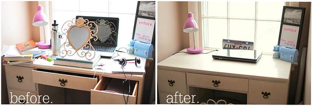 my desk: before and after.