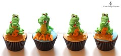 Scary or cute? (Little Cottage Cupcakes) Tags: birthday cupcakes turtle reptile snake frog lizard toad crocodile chameleon fondant cupcaketower sugarpaste littlecottagecupcakes