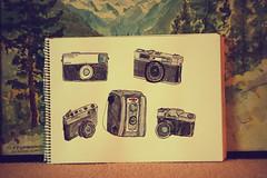 (ethan) Tags: old slr film pen ink vintage paper kodak drawing cameras watercolour konica zenit yashica helios44m kodakduaflexii yashicamg1 zenit3m kodakinstamatic33 konicaeematicdeluxe