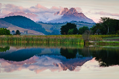 KB1_5946 (Konrad Blum) Tags: trees sunset mountains reflection water landscape southafrica nikon dam d200 1870mm stellenbosch westerncape digitalcameraclub lavenir