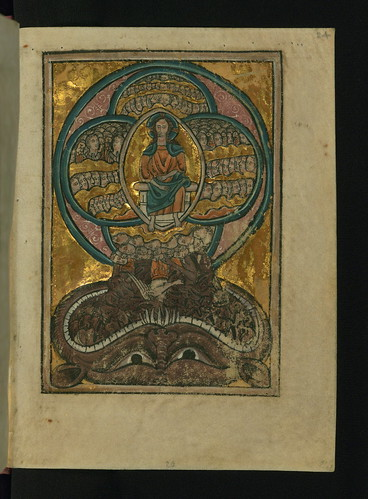 Illuminated Manuscript, Bible Pictures by William de Brailes, The Fall of the Rebel Angels (Apocryphal), Walters Art Museum Ms. W.106, fol. 24r by Walters Art Museum Illuminated Manuscripts