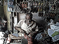 Self employment (ahmedusam) Tags: poverty life old portrait india man boot shoe kerala business labour abc lotto trivandrum profession xyz moustach chappal repairer