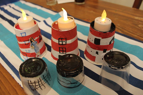 Paper cup lighthouse lights