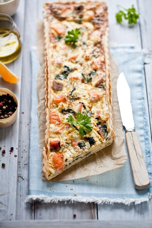 Swiss Chard & Salmon Quiche