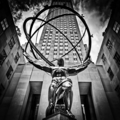 Atlas (melmark44) Tags: nyc newyorkcity blackandwhite bw sculpture newyork reflection statue stpatrickscathedral 5thavenue rockefellercenter wideangle handheld atlas planets artdeco canon5d zodiac fifthavenue heavens 16mm constellations leelawrie lawrie canoneos5d canonef1635mmf28liiusm 630fifthavenue renechamberllan chamberllan