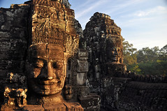 Bayon Sunrise (colin grubbs) Tags: morning shadow smile stone temple nikon cambodia southeastasia faces nirvana buddha explore jungle angkor carvings bayon angkorthom travelphotography d90 flickrexplore siemreapprovince updatecollection colingrubbs bayonsunrise