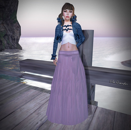 CHIC limited -+BOUNCE+ BOLERO Wool  - Vieux Bleu  ANAIS Short top - Blanc &  GYPSY Long skirt - Vieux Rose