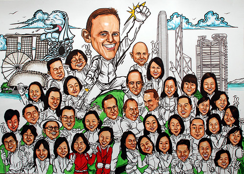 Group caricatures for UBS - 2