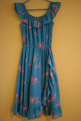 Super Cute Vintage Turquoise Hawaiian Dress (honor) Tags: pink flowers vintage aqua dress turquoise hawaiian casual etsyveg