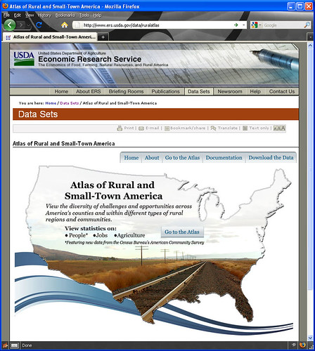 Home page of online mapping tool, the Atlas of Rural and Small-Town America