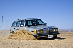 Calm down, it's a Mercedes. (mercedesmotoring) Tags: station out wagon francis grey mercedes benz exterior desert diesel w gray 123 ascot burn mercedesbenz 1985 touring jg w123 300td s123 mercedesmotoringcom