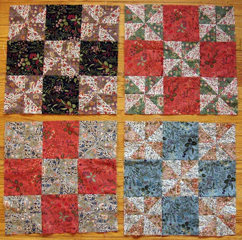 four pinwheel blocks